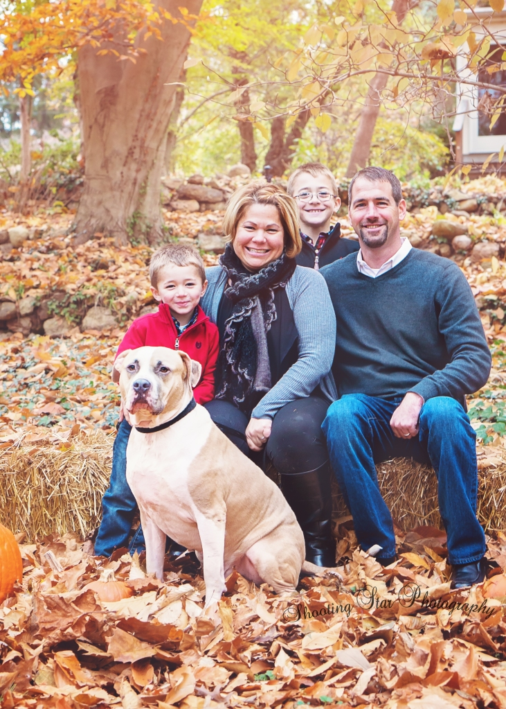 Love this shot of the family and the dog!
